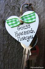 Keyring Double sided- Personalised wooden heart- Guess how much I love you