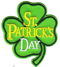 """""""ST. PATRICK'S DAY"""" CLOVER/Iron On Embroidered Patch, Celebration,Irish"""