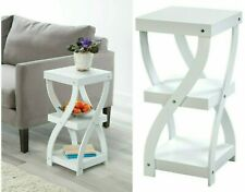 Side Sofa Table 3 Tier Shelf Accent Coffee Entrance End Table White Wood Twisted