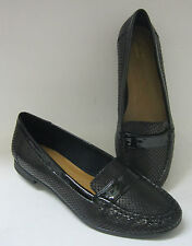 SALE LADIES CLARKS 'ATOMIC LADY' BLACK AND NAVY SLIP ON SHOES