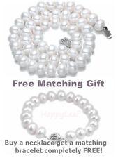 "11-13mm white large Freshwater Pearl necklace strand 18""&bracelet 8.5""set bridal"