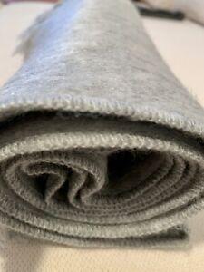 Alpaca Wool Scarf Light Gray Solid Soft Warm Light Fringed Edges Nwot Unisex