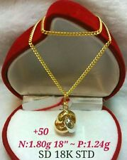 GoldNMore: 18K Gold Necklace and Pendant 18 inches chain