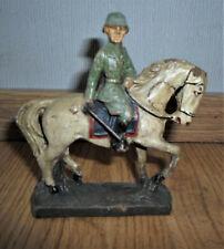 rare prewar ELASTOLIN german officer soldier on horse with sword - WWII