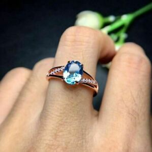 14k Rose Gold Over 2 Ct Oval Cut Blue Topaz Solitaire W/Accents Engagement Ring