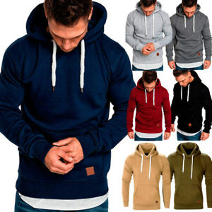 Men Solid Pocket Hoodie Slim Fit Hooded  Sweatshirts Jogger Pullover Sweater Top