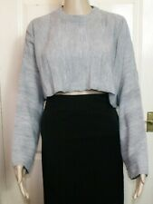 GORGEOUS PRAGUE 💝 GREY OVERSIZED CROPPED JUMPER SWEATER TOP SIZE 10 12 #TB#