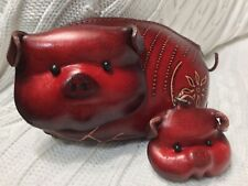 HAND MADE EMBOSSED GENUINE LEATHER PIG COIN PURSE/WRISTLET/POUCH & KEY CHAIN