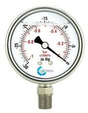 "2-1/2"" Vacuum Gauge, Stainless Steel Case, Liquid Filled, Lower Mnt -30 Hg/0"