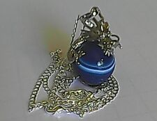 Handcrafted Sterling Silver Dragon Wrapped Blue Banded Agate Gemstone Necklace