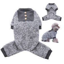 Fuzzy Fleece Thermal Pet Clothes for Dog Pajamas PJS Coat Jumpsuit Warm Grey
