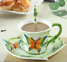 Hand Crafted Bamboo Butterfly Porcelain Coffee Tea Cup Sets with Saucer & Spoon