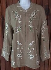 Denim & Co Jacket Beige Embroidered White Green Floral Zip Up Jacket Size L