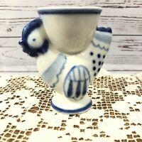 Vintage Chicken Blue White Porcelain Egg Cup Signed Handmade in USSR