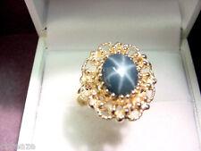 GENUINE BLUE STAR SAPPHIRE 3.68 CTS VINTAGE 14K GOLD RING