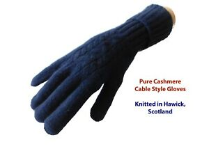 Pure Cashmere Ladies Gloves - Cable Design - Knitted in Hawick Scotland