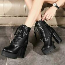 Womens Platform Military Rivets Chunky High Heels Winter Combat Ankle Boots 0604
