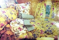 "New LAURA ASHLEY HOME King 78x80"" Bedskirt Ruffle Poppy Meadow Cow Yellow Floral"