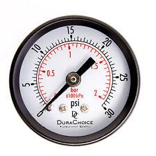 """1-1/2"""" Dry Utility Pressure Gauge - Blk.Steel 1/8"""" NPT Center Back 30PSI"""