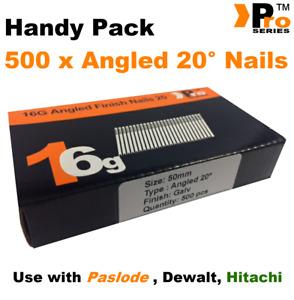 50mm 16 Gauge ANGLED 20° Nails - 500 nail pack for Dewalt ,Paslode ,Hitachi