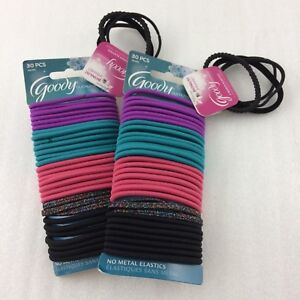 Goody Ouchless 68 Hair Elastics Black Pink Blue Purple Ponytail New Metallic