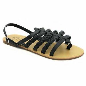 Ladies Womens Gladiator Sandals Beach Summer Shoes Size UK 6 EU 39 JINA Black