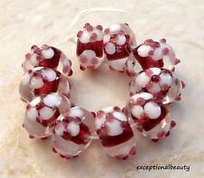 1 Adorable Pink /& White Lampwork Glass 15x12mm Sheep Bead *