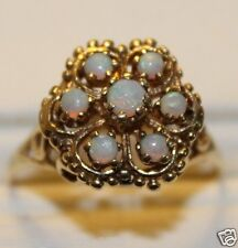 VINTAGE 14K YELLOW GOLD VINTAGE 70'S OPAL FLOWER RING ~ SZ 10.75  FREE SHIPPING!
