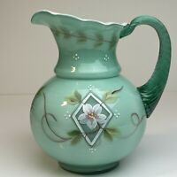 Fenton Spruce Green Overlay Pitcher Diamond Jubilee Signed 75th Anniversary