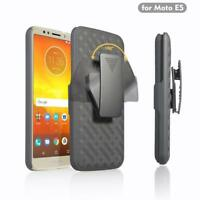 For Tracfone Motorola Moto E5 Rubberized Anti Slip Holster with Belt Clip