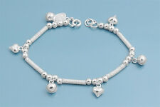 "Bracelet with Hearts & Bells Charm Sterling Silver 925 Jewelry 7"" adjust to 8"""