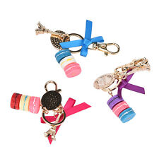 rose Macaron Eiffel Tower Pendant Bag Charm Purse Keychain Keyring Keyfob FT