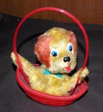 Vtg 1950's Mechanical Easter Basket Toy W Plush Puppy Dog, Made Japan