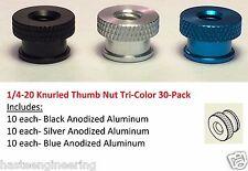 "1/4-20 x 3/8"" Knurled Thumb Nut Tri-Color (30 Pcs) Includes Black, Silver & Blue"