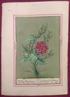 Hand Painted Rose Flower Intricate Art Work Paper Traditional Indian Miniature