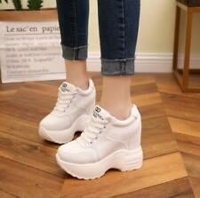 Womens Lace Up Platform Wedge High Heels Sneakers Trainer Sport Ankle Boots EU35