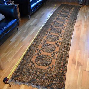 Afghan Ersari runner Handmade Vintage Traditional Oriental Wool Rug 370 X 82cm