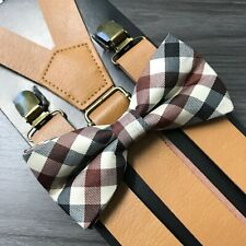 Lt Brown Wide Faux Leather Suspender+Ivory Bow-Tie Matching Set Adults Men Women
