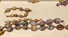 Antique Art Deco Foil Fire Opal Murano Venetian Glass Beads