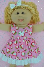 "Play n Wear Dolls Clothes For 16""Cabbage Patch STRAWBERRY PATTERN DRESS~HEADBAND"