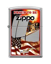 Zippo 4679 Mazzi Flag Proud To Be Zippo Brushed Chrome Finish Lighter
