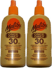 2x MALIBU FACTOR 30 ONCE DAILY CLEAR PROTECTION SUN TAN SPRAY UVA & UVB - SPF 30