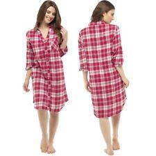 Ladies 100% Cotton Check Night Shirt Nightie Nightdress Nightshirt Size 8-18