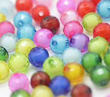 100X Mischfarbe Runde Acryl-Perlen 8mm craft/Kinder Dekorative Schmuck