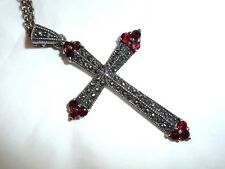 Sterling silver marcasite and garnet cross necklace on baby belcher chain. 11g