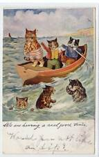 """""""WE ARE HAVING A REAL GOOD TIME"""": Cat postcard by Louis Wain (C35473)"""