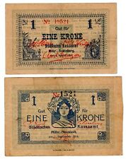 LOT 2 BILLETS Allemagne GERMANY 1 KRONE 1914 MAHR- NEUSTADT SCHONBERG NOTGELD