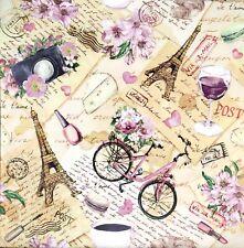 3x Single Paper Napkins Decoupage Vintage Bike Paris Flowers Script Collage N283