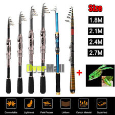 Super Hard Carbon Fiber Telescopic Fishing Rod Travel Spinning Pole Sea 1.8-2.7M