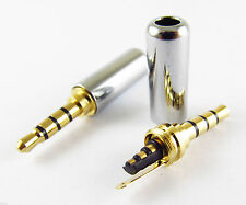 """1pc Gold 3.5mm 1/8"""" TRRS 4 Pole Male Plug A/V Solder Connector w/Silver Casing"""